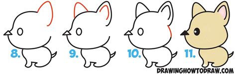 how to draw dogs how to draw a kawaii style from an arrow easy step by step drawing