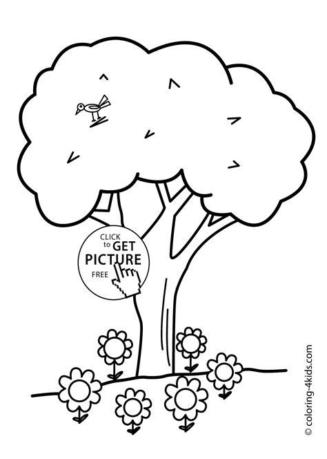 coloring pages of birds in trees nature tree with bird coloring page for kids printable free