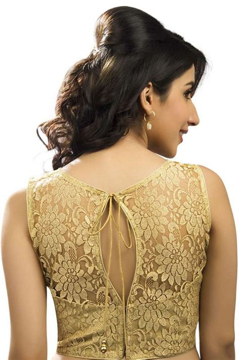 gold lace blouse  embossed designer wear