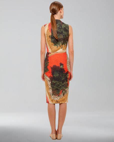 b256m akris garden print faced sleeveless dress