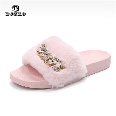 in slippers cbjsho fluffy fur slippers open toe soft indoor home