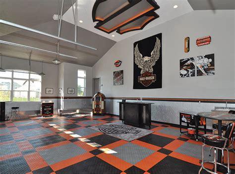home garage workshop with racedeck garage flooring wall racedeck garage flooring harley davison theme garage