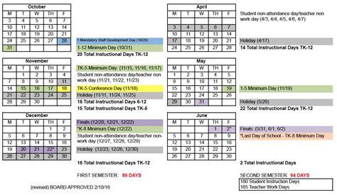 Bay District Schools Calendar Pleasanton California School District Calendar