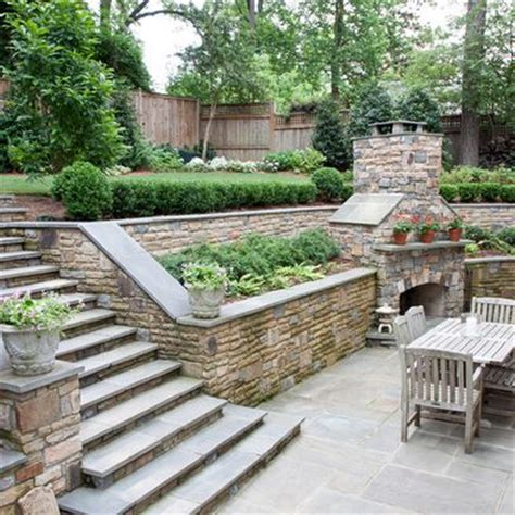 sloped backyard design ideas 25 best ideas about backyard retaining walls on