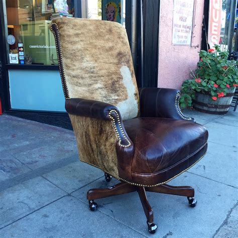 Cowhide Desk - sold age custom made executive desk chair made