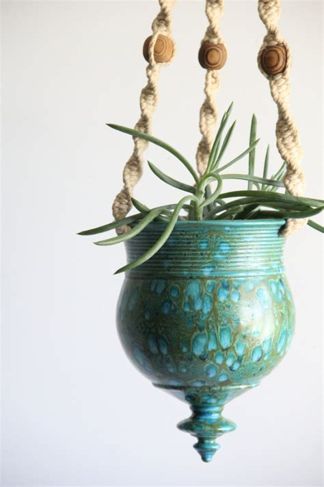 vintage hanging pottery planter teal blue