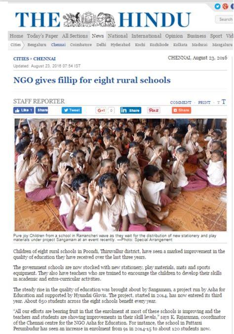 Hyundai Glovis Annual Report Asha Chennai Featured In The Hindu Asha For Education