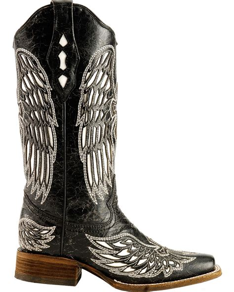 Original Blackmaster Low Boots Wings Black corral distressed black with white cross wing inlay boots square toe country outfitter