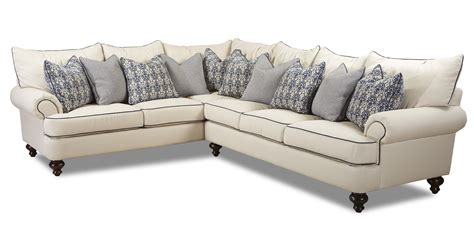 shabby chic sectional sofa by klaussner wolf and gardiner wolf furniture