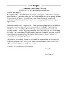 Waste Management Cover Letter by Leading Professional General Manager Cover Letter Exles