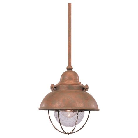 Pendant Lights Home Depot Sea Gull Lighting 1 Light Weathered Copper Incandescent Pendant The Home Depot Canada