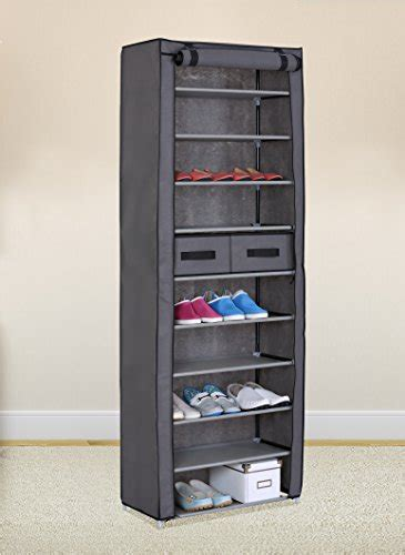 dustproof 10 tier shoes cabinet storage organiser shoe rack stand holds 27 pairs ebay grey 10 tiers shoe rack with dustproof cover closet shoe storage cabinet organizer homegoodsreview