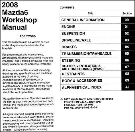 manual repair free 2009 mazda mazda6 parking system service manual 2009 mazda mazda6 repair manual free mazda 6 2002 2008 factory service repair