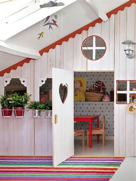 little house design ideas girls bedroom ideas attic girl room design with small playhouse