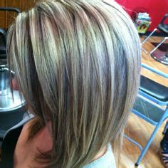bangs and blending high and low lights to cover gray blending gray hair with lowlights dark brown hairs