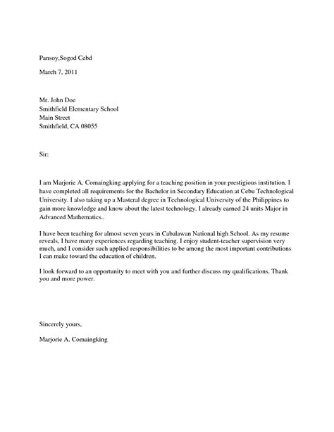 application letter format college college application letter