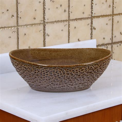 brown bathroom sink elite 1551 oval coffee brown glaze porcelain ceramic