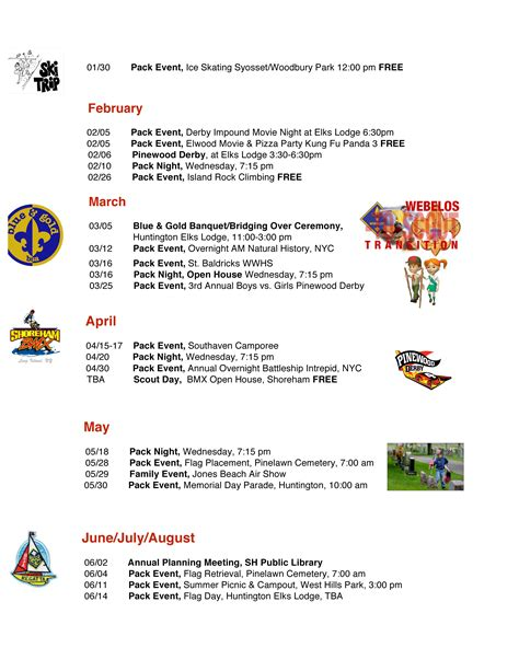 cub scout calendar template pack 66 events calendar cub scout pack 66 south