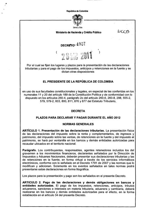 calendario tributario proyecto decreto fechas calendario tributario 2012 decreto vencimientos