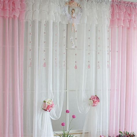 curtains pink ruffle curtain