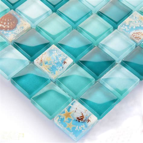 Wall Tile Murals glass mosaic backsplash tiles blue crystal glass dissolved