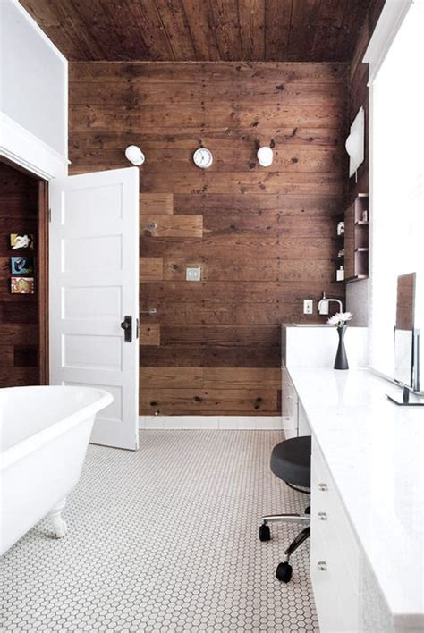 plank wall bathroom black white wood bathroom design inspiration