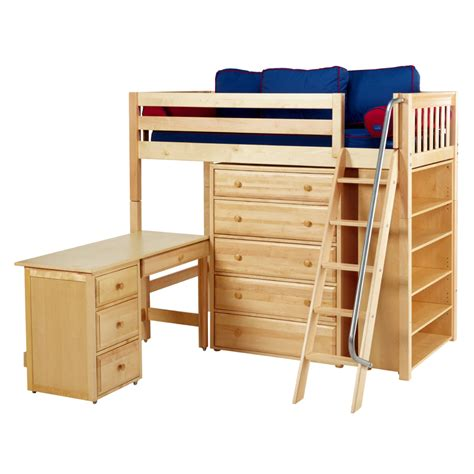 emperor high loft bed with bookcase and desk