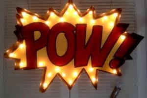 light up sign marquee light up sign 36 quot pow comic book sign ebay