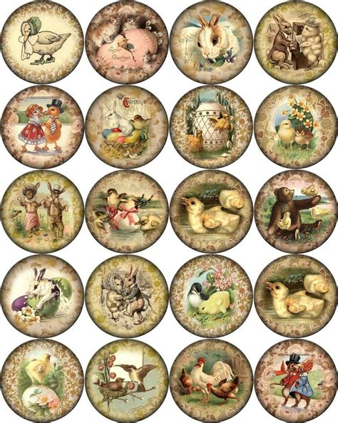 printable vintage stickers details about vintage easter pictures on round asst size