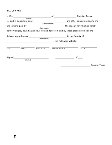 Free Texas Motor Vehicle Bill Of Sale Form Pdf Eforms Free Fillable Forms Vehicle Bill Of Sale Template Fillable Pdf