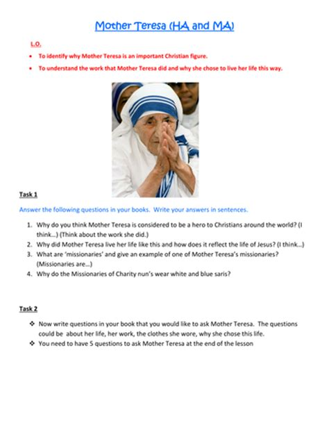 biography phrases ks2 mother teresa lesson plan and resources by kirstymc1