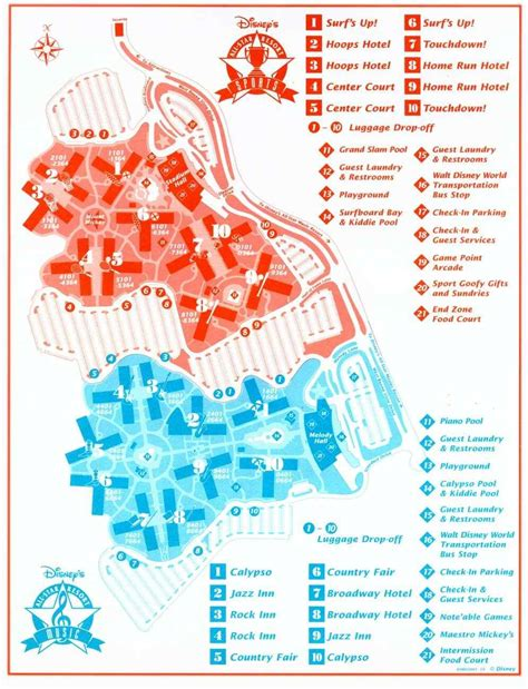 all resort map preferred rooms disney s all sports resort walt disney world resorts and hotels