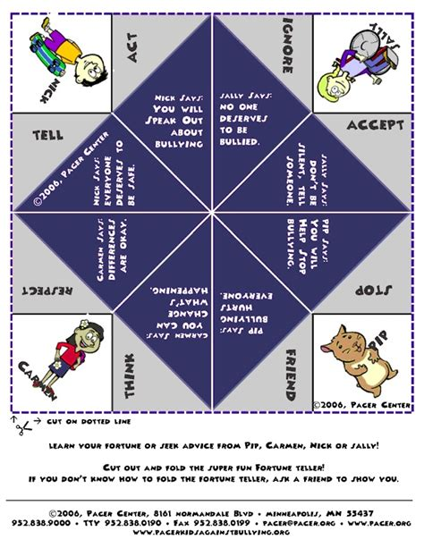 Origami Fortune Teller History - teaching about bullying fortune teller cootie catcher