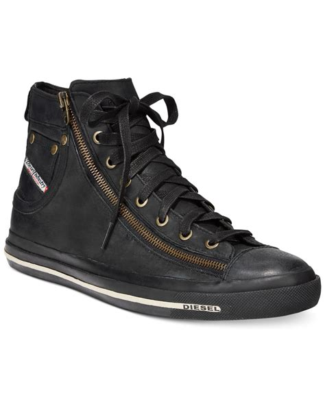 Diesel Black lyst diesel magnete expo zip hi top sneakers in black for