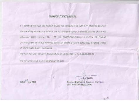 Performance Certificate Letter Client Commendations Bengal Bitumen