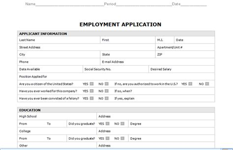 job application templates for word employment application template microsoft word templates