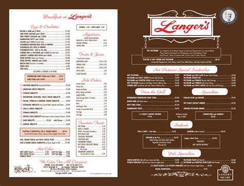 The L Menu by Langer S Delicatessen Restaurant Menu Langer S Delicatessen Restaurant