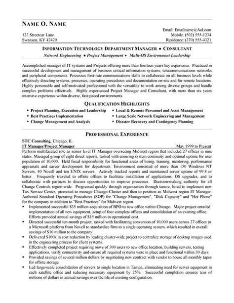 resume for it it consultant resume exle