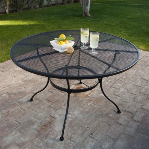 Black Wrought Iron Patio Table Wrought Iron Patio Table Black Outdoor Lawn Yard Deck Top Dining 48 In New Ebay