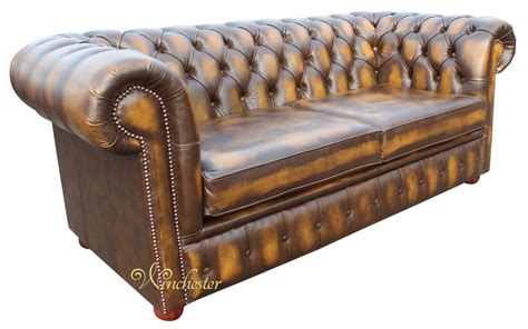 Gold Chesterfield Sofa Chesterfield 2 Seater Sofa Bed Antique Gold Leather