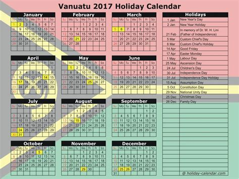 Vanuatu Calendã 2018 Vanuatu 2017 2018 Calendar
