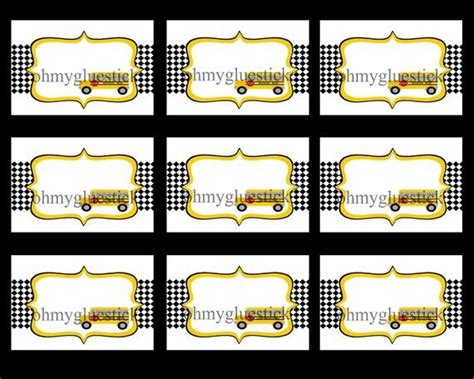 printable bus tags school bus labels label food dishes baker s 2nd