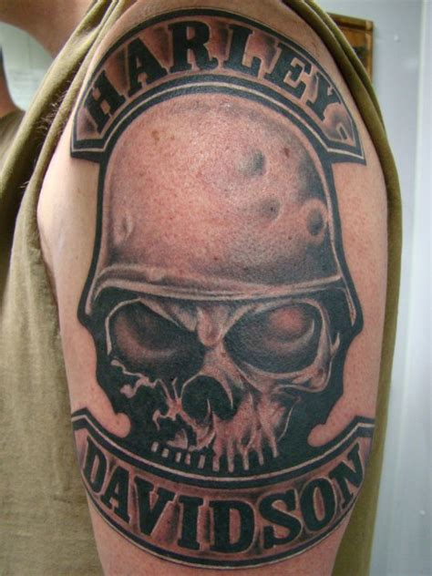 harley davidson skull tattoo designs 27 harley tattoos on sleeve