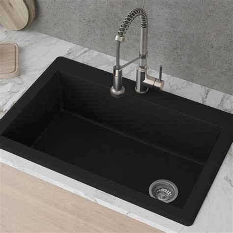 Single Or Kitchen Sink by Kraus Kgd54black 33 Inch Dual Mount Single Bowl Granite