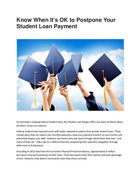 Loan For Mba Abroad by Study Loan When It S Ok To Postpone Your Student