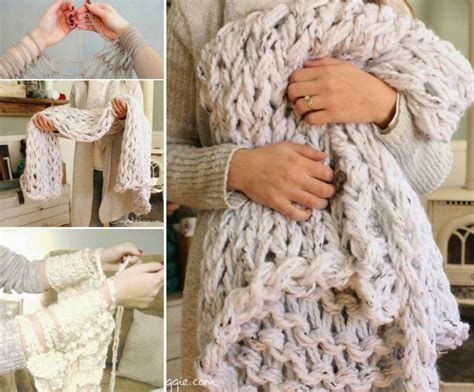 arm knitting projects arm knit blanket tutorial easy diy pattern