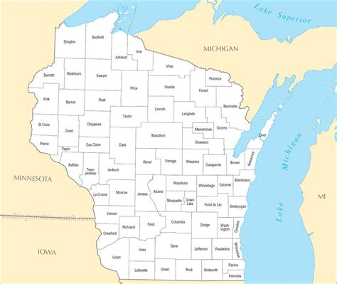 map of wisconsin counties a large detailed wisconsin state county map