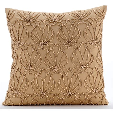 decorative bed pillows handmade gold decorative pillows cover beaded lotus pattern