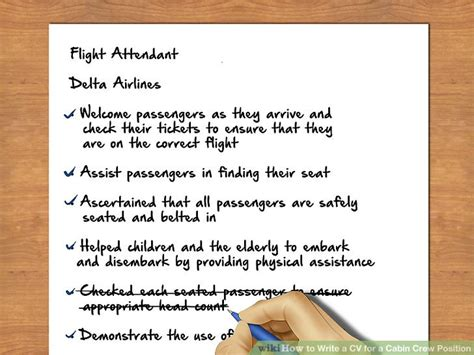 How To Write A Cabin Crew Cv by How To Write A Cv For A Cabin Crew Position With Pictures