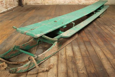 vintage american made antique wooden snow sled toboggan